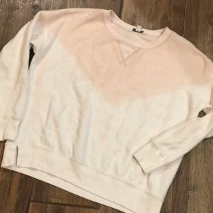 Pink and white tie dye inside out sweatshirt